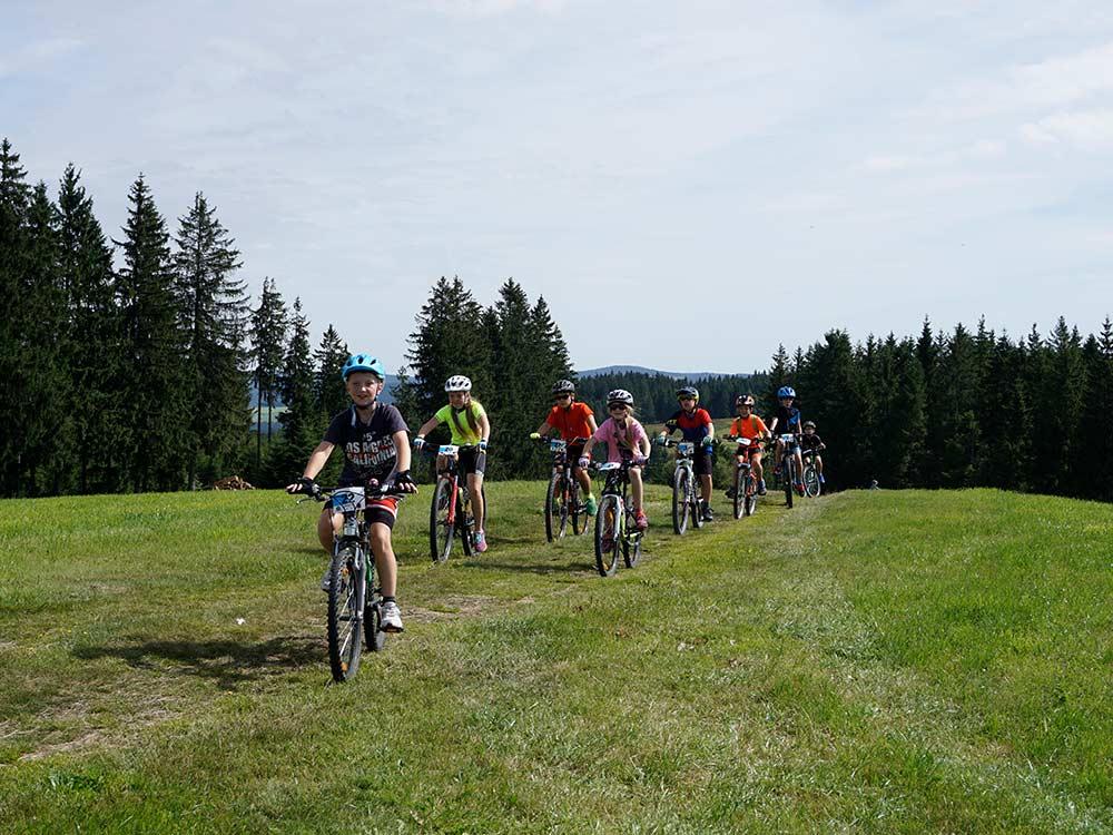 Kinder auf Mountainbikes in Breitnau