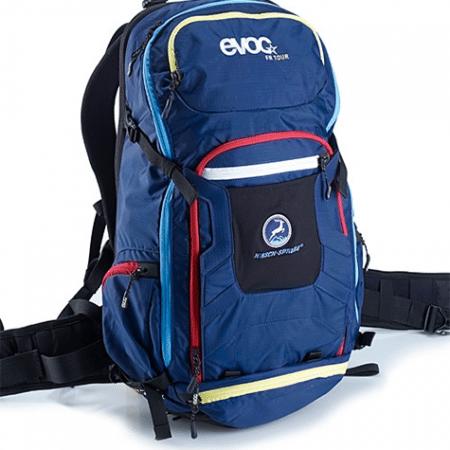 Rucksack von evoc mit HIRSCH-SPRUNG Logo